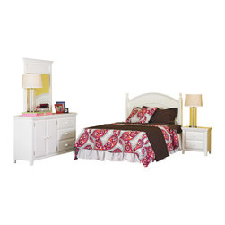 Powell - Powell Wendy Full Bed in a Box Set X-891-274 - The Wendy Full Bed in a Box will make furnishing your youth or guest bedroom simple - everything you need is all in one box! This classic set with an all white finish includes a headboard, night stand, and dresser with detachable mirror. The dresser is roomy and has a wide two door opening on one side with an adjustable height shelf (perfect for stacking linens or sweaters) and three drawers on the other side. The coordinating night stand has two drawers for storage. Made from solid wood, this is a beautiful bedroom set that will last for years.