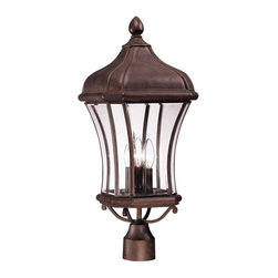 Savoy House - Realto Post Lantern - A strong Trisyn composite forms the foundation for a Walnut Patina finish with clear beveled glass. This flawless style offers an unparalleled value.