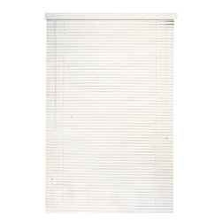 "Achim - White Vinyl 1"" Mini Blinds - These blinds will fit 1/2"" wider and 3/8"" smaller than stated size. The head rail will measure 1/2"" less than stated size. Lead free PVC Vinyl construction. Includes a slat type valance. Installation harware included. These blinds can be shortened, the instructions to do so are enclosed. Very easy cleaning."
