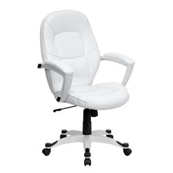 Flash Furniture - Flash Furniture Mid-Back White Leather Executive Office Chair - Set your own trend with this ultra-modern White Leather Executive Office Chair by Flash Furniture. Chair has a comfortably padded seat and attractive white nylon base with black caps that prevent feet from slipping. Get the upgrade you deserve with this executive chair!