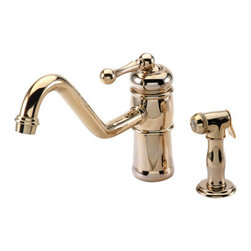 Harrington Brass Works - 1 Hole Kitchen Faucet W/ Swivel Spout & Hand Spray, Polished Chrome - Harrington brass works victorian collection