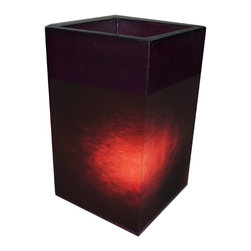 Jeffan International - Labota Square Purple Translucent Lamp w Planter Top - Bulb not included. Requires one 40/60 watt bulb. 7 ft. electrical cord with on/off switch. Unique lighting for great ambiance. Recognized by HGTV for its innovative design. Colorful pigmented fiberglass. Made from fiberglass. Made in Indonesia. No assembly required. 18 in. L x 18 in. W x 24 in. H (24 lbs.)Colorful pigmented fiberglass are molded to create this planter. It could be used as beverage server by placing bucket to hold the ice and the beverage.