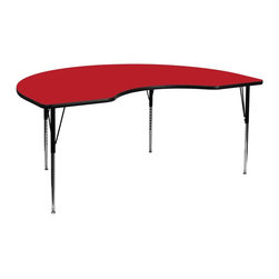 Flash Furniture - Flash Furniture Accent Table X-GG-A-H-DER-YNDIK-6984A-UX - Flash Furniture's XU-A4896-KIDNY-RED-H-A-GG warp resistant high pressure laminate kidney activity table features a 1.25'' top and a high pressure laminate work surface. This Kidney Shaped High Pressure Laminate activity table provides an extremely durable (no mar, no burn, no stain) work surface that is versatile enough for everything from computers to projects or group lessons. Sturdy steel legs adjust from 21.25'' - 30.25'' high and have a brilliant chrome finish. The 1.25'' thick particle board top also incorporates a protective underside backing sheet to prevent moisture absorption and warping. T-mold edge banding provides a durable and attractive edging enhancement that is certain to withstand the rigors of any classroom environment. Glides prevent wobbling and will keep your work surface level. This model is featured in a beautiful Red finish that will enhance the beauty of any school setting. [XU-A4896-KIDNY-RED-H-A-GG]
