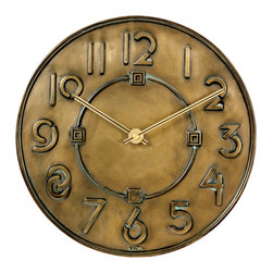 Frank Lloyd Wright Exhibition Typeface Wall Clock - Embrace the Arts and Crafts movement with a Frank Lloyd Wright–inspired clock. It has a cool vibe that will suit most any space.