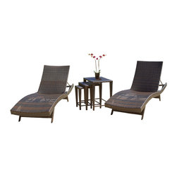 Great Deal Furniture - Lakeport 5p Outdoor Adjustable Chaise Lounge Set - We guarantee that you have never seen a more beautiful chaise lounge set than the Lakeport. This set includes two chaise lounges and three nested tables. The lounges feature an adjustable angle back and folding legs for easy stacking. Its natural colors combined with its exotic styling, creates a one-of-a-kind design that is perfectly suited for poolside use. The smooth, soft wicker is weather resistant and is carefully and meticulously crafted and shaped to form gorgeous curves that not only look great, but also seemingly wraps to your body, creating a luxurious feel of peace and quiet. This set offers all the necessary elements for the ideal sunbathing experience.