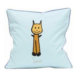 "Meo and Friends - Sansi Down-Filled Pillow - Decorate a child's bed or add a special touch to a play area with the Meo and Friends pillowcase. Sansi has an ability to use the body well. Wants to get a hands on contact with the subject and feels a need to move while learning. If you can recognize Sansi in your child: Go to the playground, trace letters and words on each others back, hands-on activities like finger painting, performing skits, puppet shows, and plays, running, jumping, skipping, hopping, dance, gymnastics, climbing. Features: -Available in 3 sizes. -100% Organic cotton. -Fill pillow in down. -Overall dimensions: 19.7"" H x 19.7"" W."