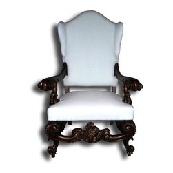 EuroLux Home - New Throne Chair Rococo Fabric Spring Seat - Product Details