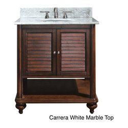 None - Avanity Tropica 30-inch Single Vanity in Antique Brown Finish with Sink and Top - Color: Antique brown Materials: Solid wood and veneer,granite,vitreous china  Hardware finish: Brushed nickel