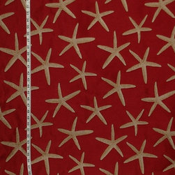Red Starfish Upholstery Fabric - A star fish fabric. A red upholstery weight fabric with sea stars!