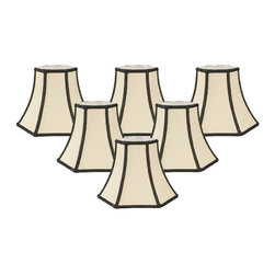 """Royal Designs, Inc"" - Decorative Trim Hexagon Chandelier Lampshade - ""This shade is a part of Royal Designs, Inc. Timeless Chandelier Shade Collection and is perfect for anyone who is looking for a simple yet stunning lampshade. Royal Designs has been in the lampshade business since 1993 with their multiple shade lines that exemplify handcrafted quality and value."