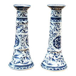 Consigned Vintage Porcelain Candle Holders Blue White Victorian Pair - A pair of vintage vVictorian Blue & White floral painted porcelain candle holders. These candle holders have that classic blue and white style that will add instant elegance to your vignette.