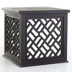 Asian Trunk Table, Obsidian Black - This Asian trunk table from Wisteria is sleek and sophisticated in glossy black. It provides added storage for any room and it is available in nine great colors. The mirrored sides add a little glam and depth, making this piece a great bedside table, side table or accent piece.