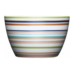 Iittala - Origo Nut Cup, Brown - And you thought snacking couldn't get any better. This bright striped ceramic bowl — ideal for nuts, candy, whatever turns you on, treat-wise — offers a far more stylish alternative to munching straight out of the bag.