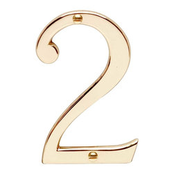 "Renovators Supply - House Numbers Bright Solid Brass #2 3 7/8"" height - House numbers: Crafted of solid brass, these die cast numbers measure 3-7/8 in. high. Our RSF protective finish guarantees these numbers will withstand the elements. A polished brass finish will embellish your home's exterior. Includes 2 screws for mounting."