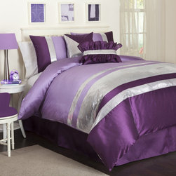 Lush Decor - Lush Decor Purple Jewel 6-piece Comforter Set - Give your bedroom a complete makeover with this faux-silk purple comforter set. The set includes everything you need to cover your bed,from a bed skirt to decorative pillows,each in a coordinating purple striped print that brightens your room.