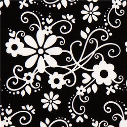 black Riley Blake fabric with flowers & embellishments - designer fabric from the USA with white daisies, hearts & embellishments