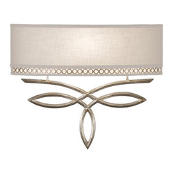 Fine Art Lamps - Allegretto Silver Sconce, 785650ST - A graceful metal looping design in one liquid stroke gives this sconce a feeling of lightness and spontaneity. The gold or silver loops are subtly picked up in the metal gallery of the horizontal linen shade. It's an elegant and uplifting piece for the contemporary home.