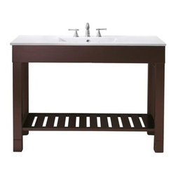 """Avanity - Avanity Loft 48"""" Single Modern Bathroom Vanity Set - Dark Walnut - The Avanity Loft 48"""" vanity is a sleek clean design that offers extra counter space in a dark walnut finish over Poplar solid wood and veneers. It features side stainless steel towel bars and a slat shelf across the bottom for storage. The vanity combo includes an integrated vitreous china top.Features49""""W x 22""""D x 35""""HPoplar solid wood and veneer in dark walnut finishStainless steel towel barsOpen slatted shelfIntergrated Vitreous China topIntergrated Vitreous China topTop pre-drilled for 8"""" widespread faucetAdjustable height levelers Faucet not includedHow to handle your counterSpec Sheet"""