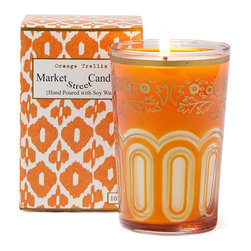 Market Street Candles - Orange Trellis Moroccan Candle - Our signature imported Moroccan tea glass, hand poured with soy wax in the USA, is packaged in a decorative gift box, making it the perfect gift just as they are!