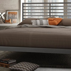Amisco - Theodore Platform Bed in Glossy Gray Finish ( - Choose Size: QueenMagnetite metal frame. Full: 78 in. L x 54 in. W x 46.25 in. H (102.5 lbs.). Queen: 83 in. L x 61 in. W x 46.25 in. H (116.5 lbs.)Pure and defined lines set the pace to your trendy bedroom. The Theodore bed fulfills with style your decor and daily life!
