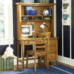 Americana Desk with Optional Hutch and Chair - Khaki Oak