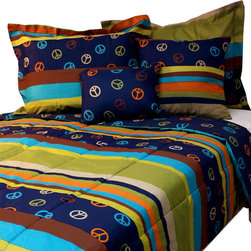Casual Living by Jessica Sanders - Peace Stripes King Comforter Set 4pc Hippie Bedding - Features: