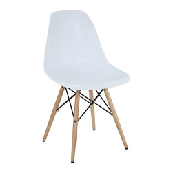 LexMod - Plastic Side Chair in White with Wooden Base - These molded plastic chairs are both flexible and comfortable, with an exciting variety of base options. Suitable for indoors or out, appropriate for the living and dinning room, these versatile chairs are a great addition to any home decor statement.
