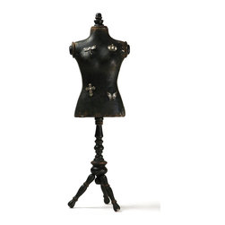 Zentique - Cecile Jewelry Mannequin - The Cecile Jewelry Mannequin features an antique black finish and includes four magnets: dragonfly, butterfly, crown, and cross.
