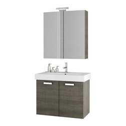 ACF - 30 Inch Grey Oak Bathroom Vanity Set - Made in and imported from Italy by ACF, this trendy bath vanity is best in contemporary bathrooms.