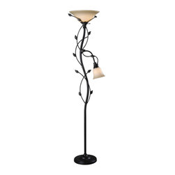 Kenroy Home - Kenroy 32241ORB Ashlen Mother & Son Torchiere - These leafy vines have a lighthearted appeal.  Delicate and reminiscent of Spring, Ashlen's whole family will grown on you.