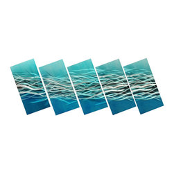 Matthew's Art Gallery - Metal Wall Art Modern Contemporary Home Decor 5 Panels Ocean Swirl - Name: Ocean Swirl