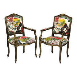 Schumacher Dragon Chairs - A Pair - These traditional French chairs have been upgraded with a whimsical Schumacher̢���s bold-hued Chaing Mai Dragon print.  Complete with a hand painted black and gold distressed finish and decorative nailheads along the bottom of the seat.