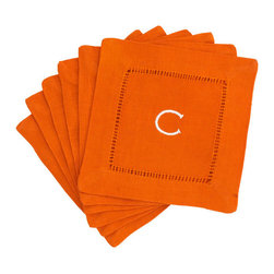 Monogrammed Block Letter Cocktail Napkins - Orange | Wisteria - These very chic linen hemstitched cocktail napkins are monogrammed with a single block letter of your choice. The color is fabulous as is the price of $24.00 for a set of six.