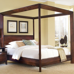 Home Image - Island Chamfer Canopy Bed - This high poster bed features a bolt on rail system to add to the stability and strength of bed and support system. Features: -Island collection. -Warm and classic mocha finish. -Bolt on rail system. -Three slats with center support. -1 Year warranty.