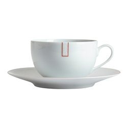 Medard De Noblat - Courant D'Air Porcelain Tea Cup and Saucer - This cup and saucer is adorned by subtle touches of graphic red. The vibrant color only adds character to this endlessly adaptable contemporary design.