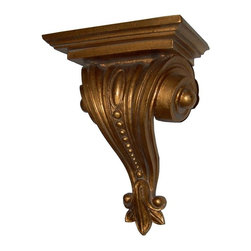 Hickory Manor House - Beaded Bracket in Gold Leaf Finish - Vintage original. Custom made by artisans unfortunately no returns allowed. Enhance your decor with this graceful bracket. Made in the USA. Made of pecan shell resin. 8 in. W x 5 in. D x 11.5 in. H (4 lbs.)