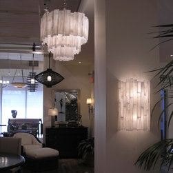 Ron Dier - Selenite Three Tier Chandelier and 1/2 Cylinder Sconce from Ron Dier Design