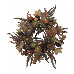 """Nearly Natural - Autumn Pumpkin Wreath - Dark rich colored leaves and fruit. Capture the look of Autumn with this piece. Will look great for years to come. Construction Material: Polyester material, Iron wire, Poly Foam, Plastic. 28 in. W x NA in. D x 28 in. H ( 5 lbs. )Want something a little different this holiday season? Look no further than this incredible 28"""" Autumn Pumpkin Wreath. With its """"brushed gold"""" look accenting the dark rich colors of the (faux) leaves and fruit, this wreath perfectly captures a """"look"""" of Autumn that sometimes goes unnoticed. Ideal for decor that calls for something a little less """"bright"""", this wreath will retain its beauty for years to come."""