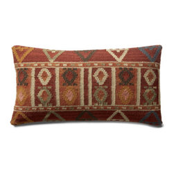 """Grandin Road - Bodrum Kilim Throw Pillow - 11"""" x 21"""" - Durable cotton backing. Zippered closure. Plump polyester fill. Dry clean only. Pillow inserts are vacuum packed to minimize shipping costs – simply fluff to restore shape. Exciting patterns and rich colors make our Kilim Indoor Throw Pillows timeless favorites. Covers are crafted on traditional kilim looms, making each pillow a one-of-a-kind creation.  .  .  .  .  . Imported."""