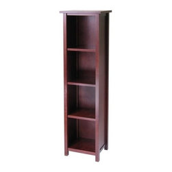 Winsome Trading, INC. - Winsome Wood 94416 5-Tier Milan Storage Shelf - Simple, sturdy, and sporting a rich Antique Walnut finish, Winsome Woods solid/composite-wood storage shelves combine economical pricing with a versatile casual style. Each piece features an oversized top, inset side panels, and a scored back panel that resembles vertical planks of wood. Whether the room needs a bookcase, display for favorite framed photos, or a catch-all with baskets, theres a size to fit every space. This 3-tier long model measures 16.4 inches wide by 13 inches deep by 56 inches high. Assembly is required
