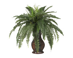Nearly Natural - Nearly Natural Boston Fern with Urn Silk Plant - A flowing spectacle of greenery, this is one plant that will stand out in any room in your house (or office, so we aren't too picky with location). The long leaves of this Boston Fern seem to drape each other in a multi-layered display, all tied together in a beautiful urn. It seems like it would take a lot of care and maintenance, but in reality, There's nothing for you to do except find the Perfect location (or Perfect person to give it to).