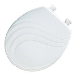 BEMIS MFG - Toilet Seat Round Swirl White - Premium, sculptured wood seat with swirl design. Twist hinges to remove seat for easy cleaning and replacement, superior high-gloss finish resists chipping and scratching.