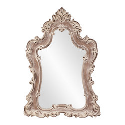 Frontgate - Guinevere Mirror - Carved hardwood frame. Aged brown finish. White washed accents. Arrives ready to hang with pre-installed D-rings. Wipe clean with a soft cloth. Our rustic yet majestic Guinevere Mirror features a hand-carved hardwood frame decorated with an ornate design. Finished in aged brown with white washed accents, this whimsical mirror is perfect for a master bedroom or bath.  .  .  .  .  .