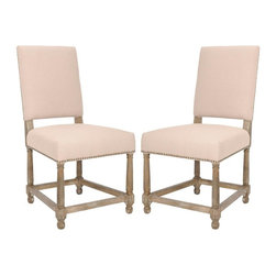 Safavieh - Aldrich Side Chair - The Aldrich side chair by Safavieh takes an easy-going updated approach to the traditional Spanish Mission chair with dark burned oak turned legs and crossbar to ensure sturdy comfort. Pure linen fabric and exposed brass nail heads add old world character. Use this versatile chair in the dining room, breakfast nook or living room.