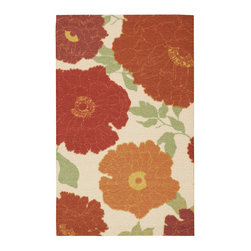 """Nourison - Nourison Vista VIS08 2'6"""" x 4' Ivory Area Rug 13772 - Add a warm ray of sunshine to any area with this exuberant floral print rug in upbeat shades of orange, gold, rust, green, crimson and ivory. The radiant colors and spirited design are accentuated by expert hand carving to create a terrific tone and texture."""