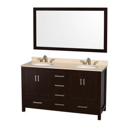 "Wyndham Collection - Wyndham Sheffield 60"" Double Sink Espresso, Ivory Marble, Oval Sink - Wyndham Collection®"
