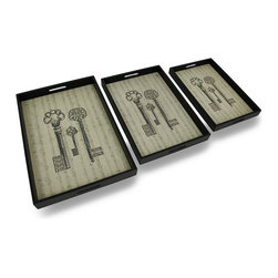 Zeckos - Set of 3 Antique Key and Sheet Music Print Decorative Nesting Trays - This set of 3 trays adds a decorative accent to any table or desk. They are made of wood, have a black leatherette covering, and have a burlap liner featuring a print of antique skeleton keys on a sheet music background. The largest tray measures 21.25 inches (54 cm) long, 14.5 inches (37 cm) wide, 2 inches (5 cm) deep, the middle one is 19 inches (48 cm) long, 12.5 inches (32 cm) wide, 2 inches (5 cm) deep, and the smallest tray measures 16.5 inches (42 cm) long, 10.75 inches (27 cm) wide, 2 inches (5 cm) deep. Use them to display groups of small items, to sort mail, or to serve snacks.