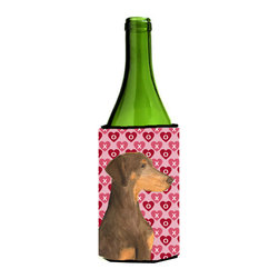 Caroline's Treasures - Doberman Hearts Love and Valentine's Day Portrait Wine Bottle Koozie Hugger - Doberman Hearts Love and Valentine's Day Portrait Wine Bottle Koozie Hugger SS4479LITERK Fits 750 ml. wine or other beverage bottles. Fits 24 oz. cans or pint bottles. Great collapsible koozie for large cans of beer, Energy Drinks or large Iced Tea beverages. Great to keep track of your beverage and add a bit of flair to a gathering. Wash the hugger in your washing machine. Design will not come off.