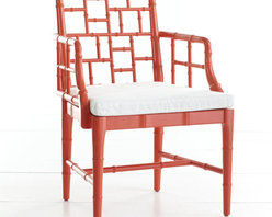 Chinese Chippendale Chair, Poppy Red - This faux bamboo Chippendale-style chair comes in a variety of colors, including this Poppy Red and Tulip Pink.