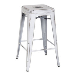 """Office Star - Office Star Bristow 26"""" Antique Metal Barstool in Antique White Set of 2 - Office Star - Bar Stools - BRW3026A2AW - Unique, modern metal chair that will get your guests talking for months. Stop playing safe and get ready to wow the crowd. These metal chairs are designed to be make your feel special. Backless design for simplicity and easy storage. Place this chair anywhere in your lovely home to receive instant compliment."""
